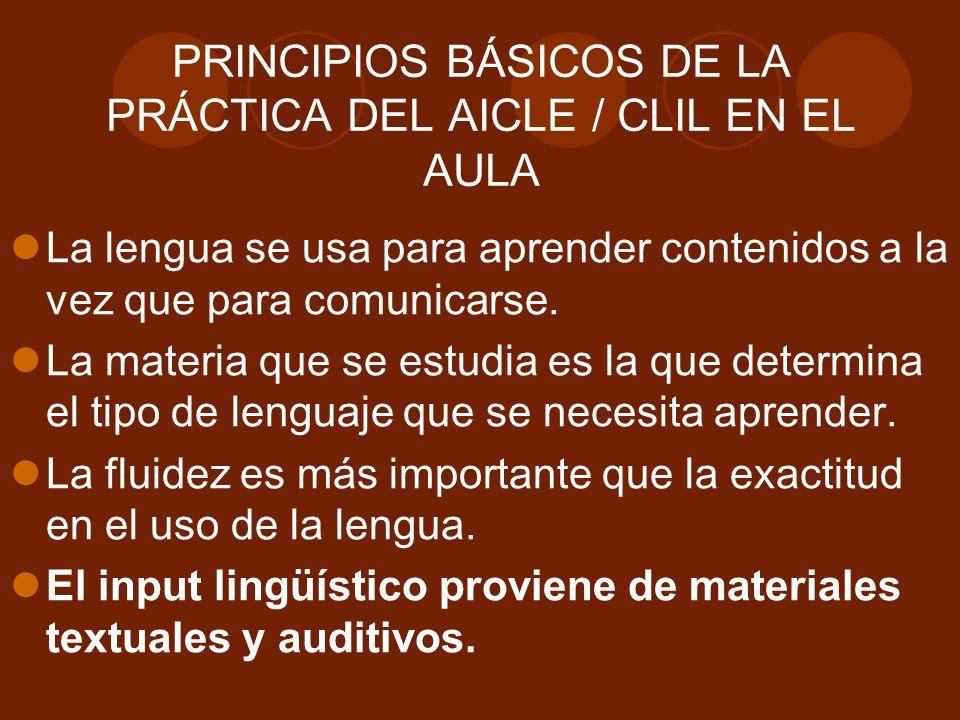 PRINCIPIOS BÁSICOS DE LA PRÁCTICA DEL AICLE / CLIL EN EL AULA