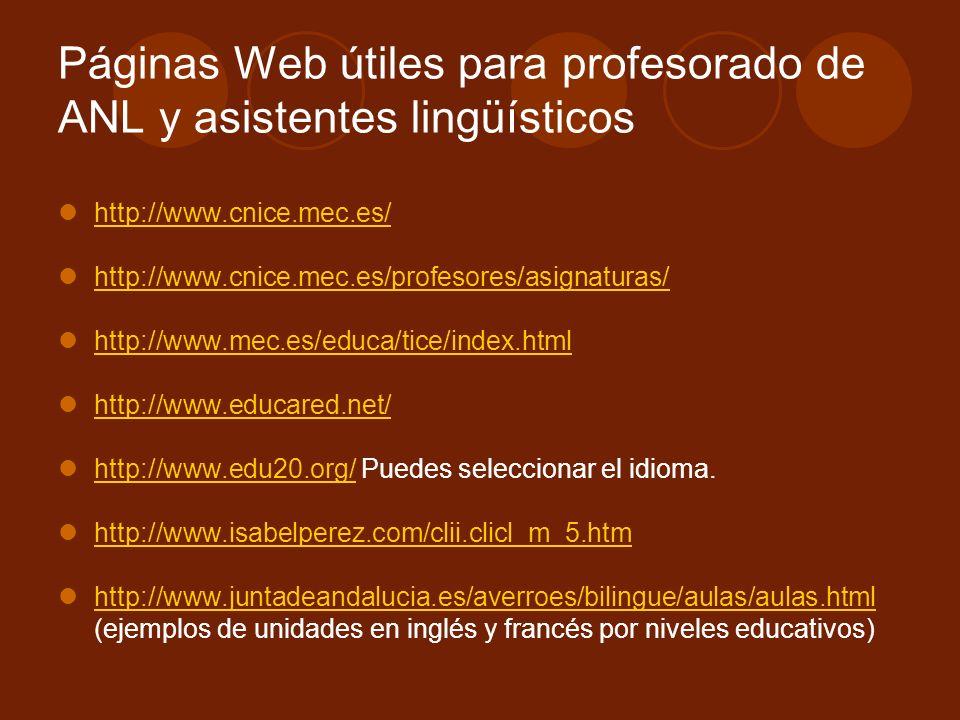 Páginas Web útiles para profesorado de ANL y asistentes lingüísticos