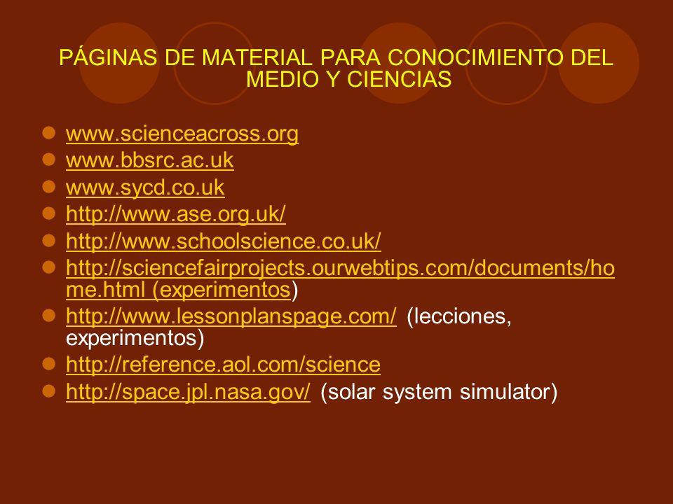 PÁGINAS DE MATERIAL PARA CONOCIMIENTO DEL MEDIO Y CIENCIAS
