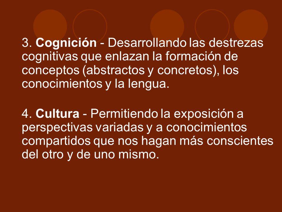 3. Cognición - Desarrollando las destrezas cognitivas que enlazan la formación de conceptos (abstractos y concretos), los conocimientos y la lengua.