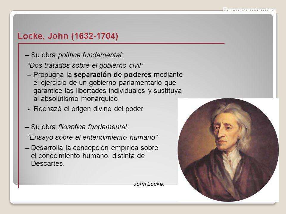 Locke, John (1632-1704) Representantes – Su obra política fundamental: