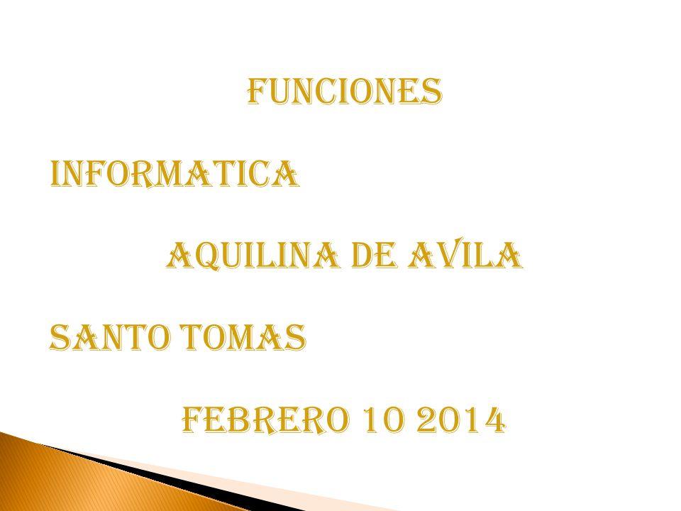 FUNCIONES INFORMATICA AQUILINA DE AVILA Santo tomas FEBRERO 10 2014