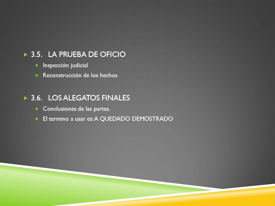 3.5. LA PRUEBA DE OFICIO 3.6. LOS ALEGATOS FINALES Inspección judicial