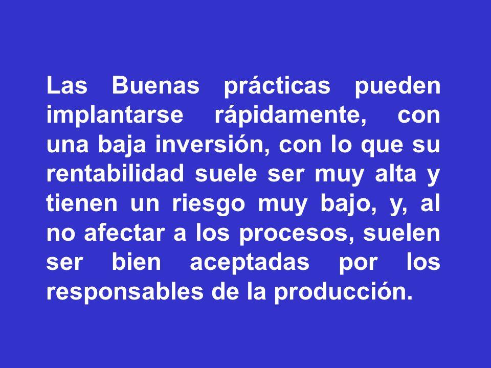 Las Buenas prácticas pueden implantarse rápidamente, con una baja inversión, con lo que su rentabilidad suele ser muy alta y tienen un riesgo muy bajo, y, al no afectar a los procesos, suelen ser bien aceptadas por los responsables de la producción.