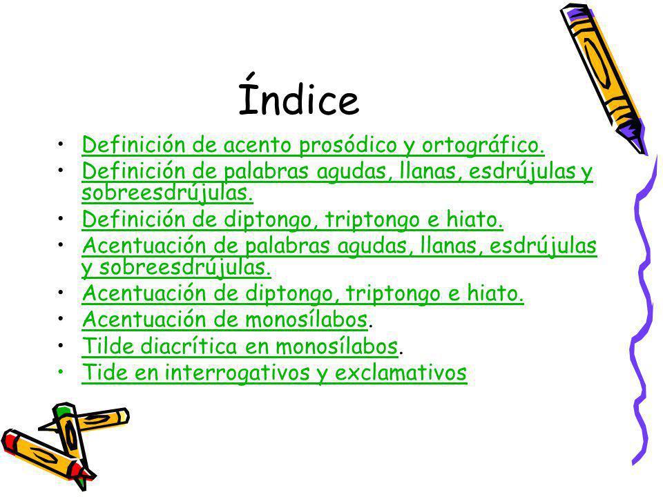 Índice Definición de acento prosódico y ortográfico.