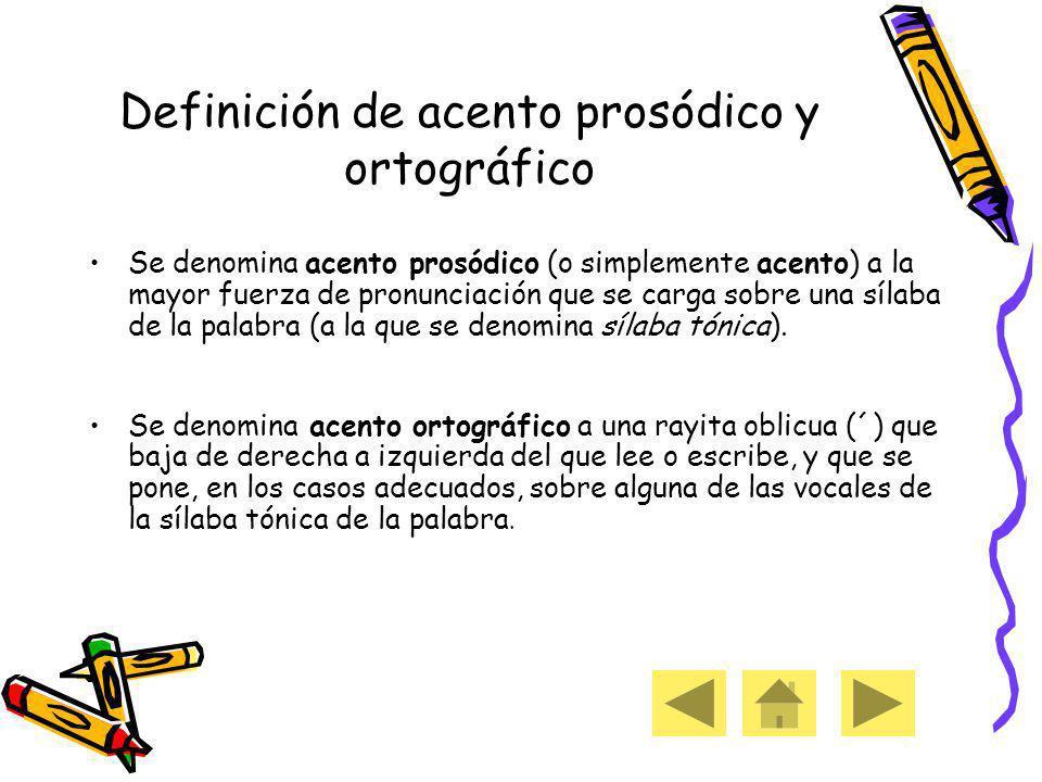 Definición de acento prosódico y ortográfico