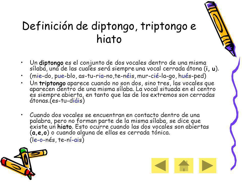 Definición de diptongo, triptongo e hiato