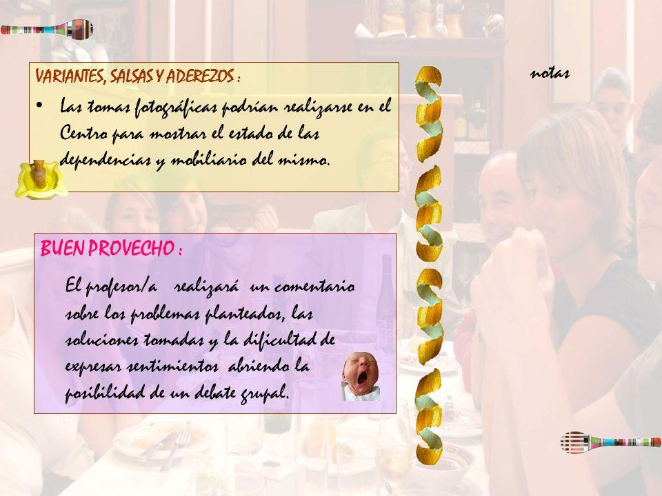 notas VARIANTES, SALSAS Y ADEREZOS :