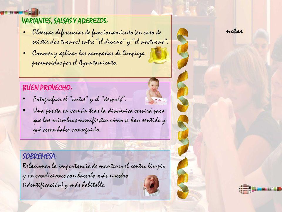 notas VARIANTES, SALSAS Y ADEREZOS: