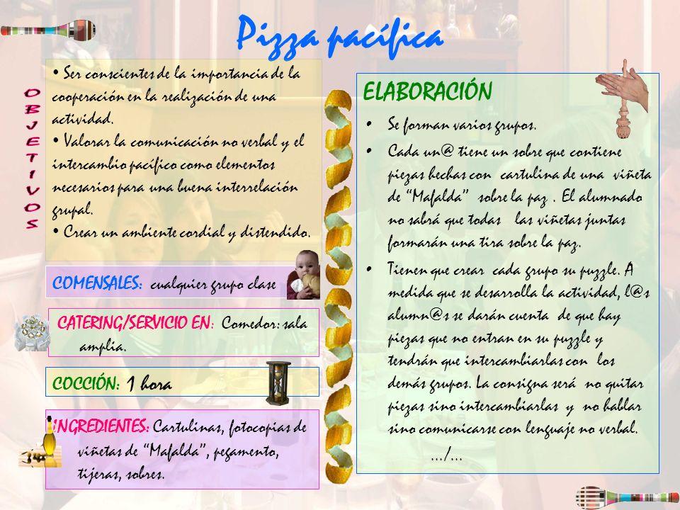 Pizza pacífica OBJETIVOS ELABORACIÓN