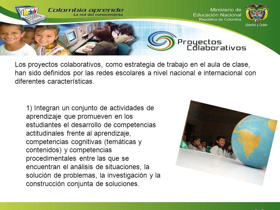 Los proyectos colaborativos, como estrategia de trabajo en el aula de clase, han sido definidos por las redes escolares a nivel nacional e internacional con diferentes características.