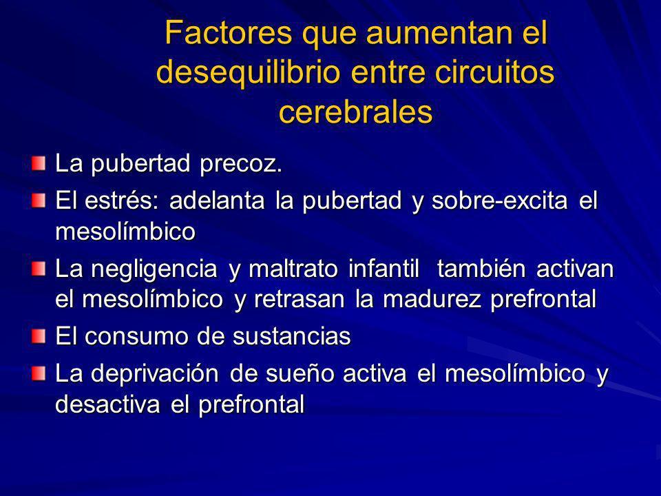 Factores que aumentan el desequilibrio entre circuitos cerebrales
