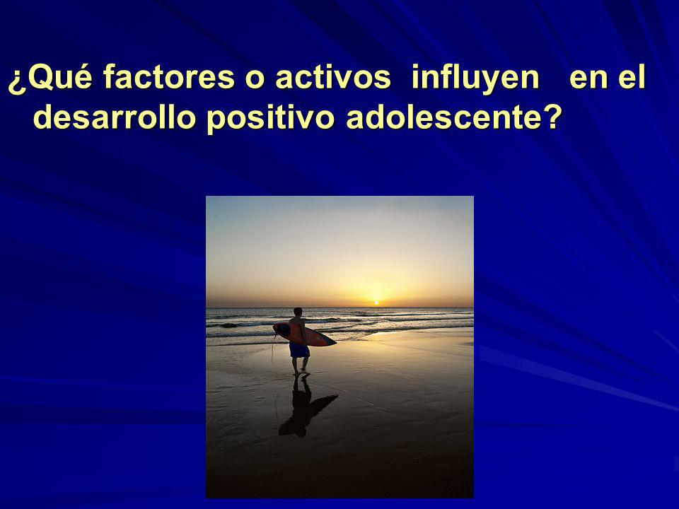 ¿Qué factores o activos influyen en el desarrollo positivo adolescente