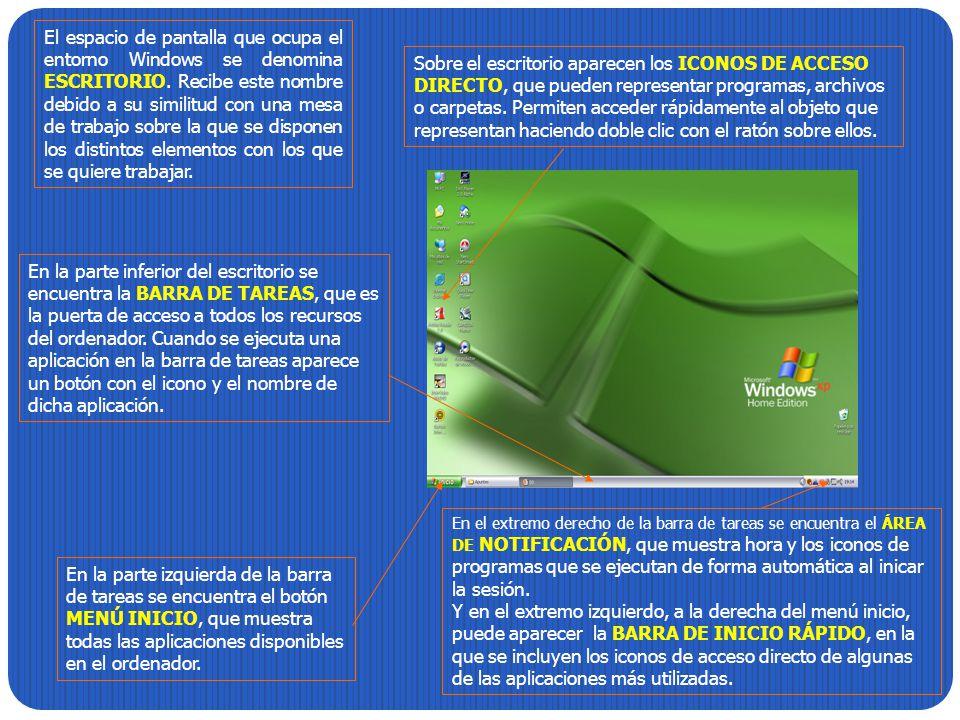 El espacio de pantalla que ocupa el entorno Windows se denomina ESCRITORIO. Recibe este nombre debido a su similitud con una mesa de trabajo sobre la que se disponen los distintos elementos con los que se quiere trabajar.