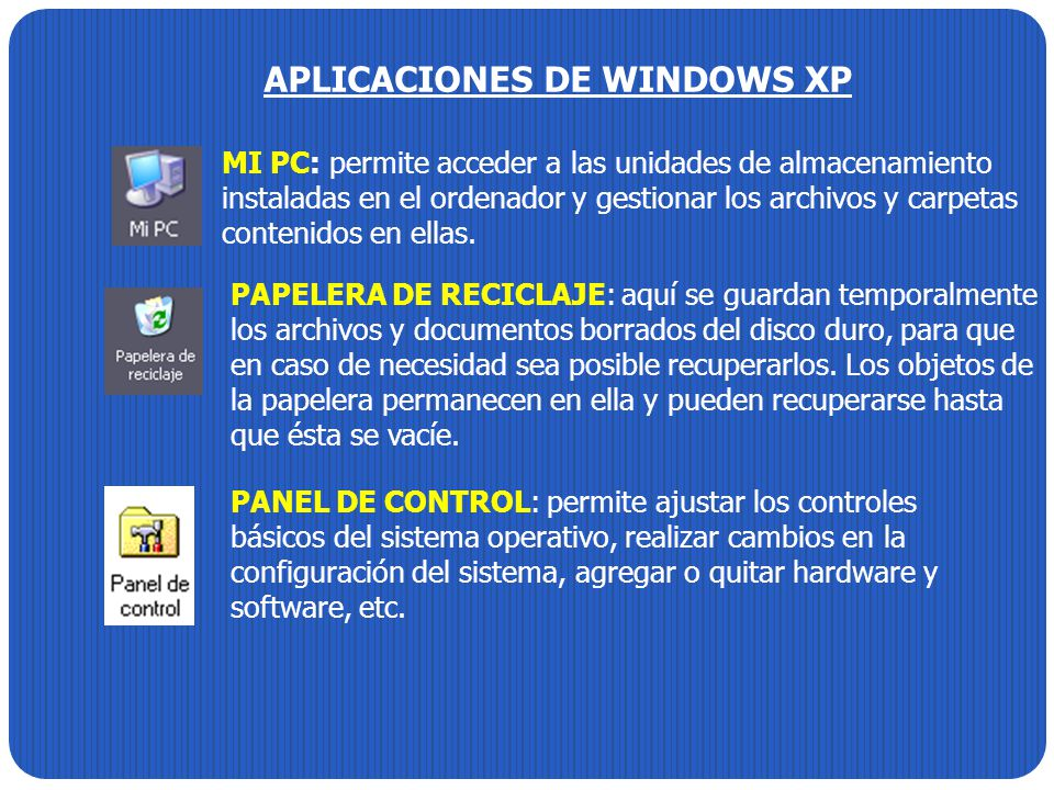 APLICACIONES DE WINDOWS XP