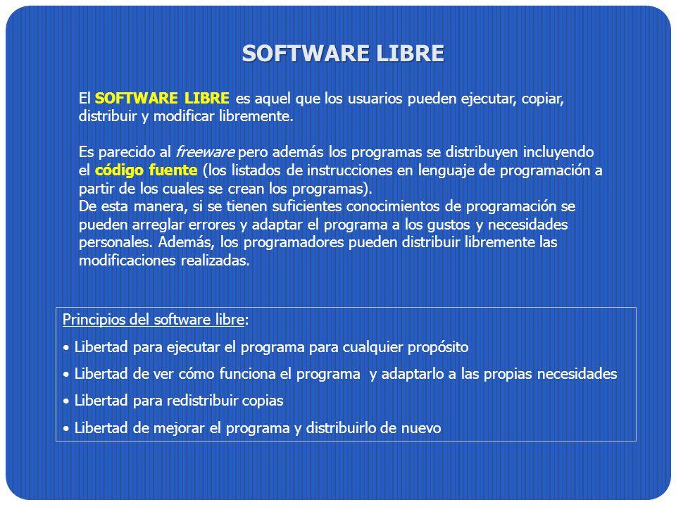 SOFTWARE LIBRE El SOFTWARE LIBRE es aquel que los usuarios pueden ejecutar, copiar, distribuir y modificar libremente.