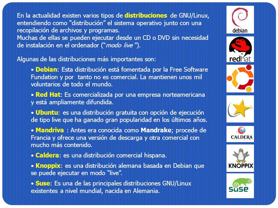 En la actualidad existen varios tipos de distribuciones de GNU/Linux, entendiendo como distribución el sistema operativo junto con una recopilación de archivos y programas.