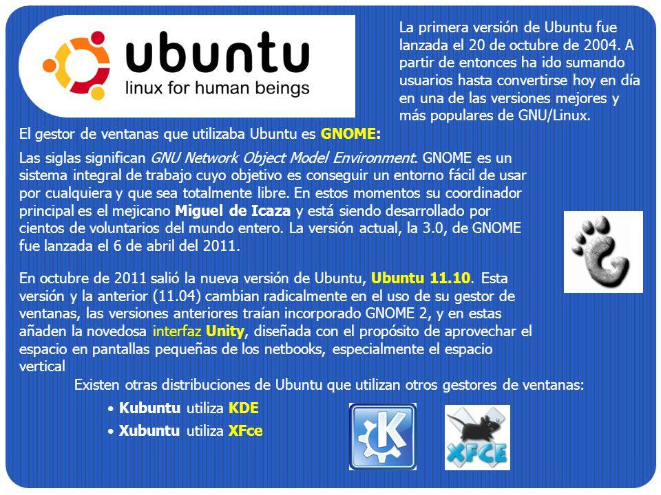 La primera versión de Ubuntu fue lanzada el 20 de octubre de 2004