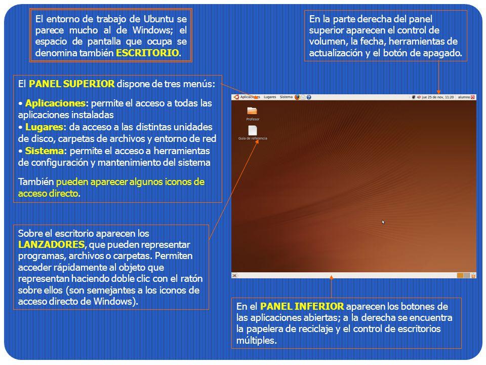 El entorno de trabajo de Ubuntu se parece mucho al de Windows; el espacio de pantalla que ocupa se denomina también ESCRITORIO.