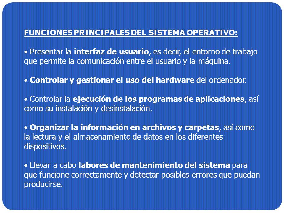 FUNCIONES PRINCIPALES DEL SISTEMA OPERATIVO: