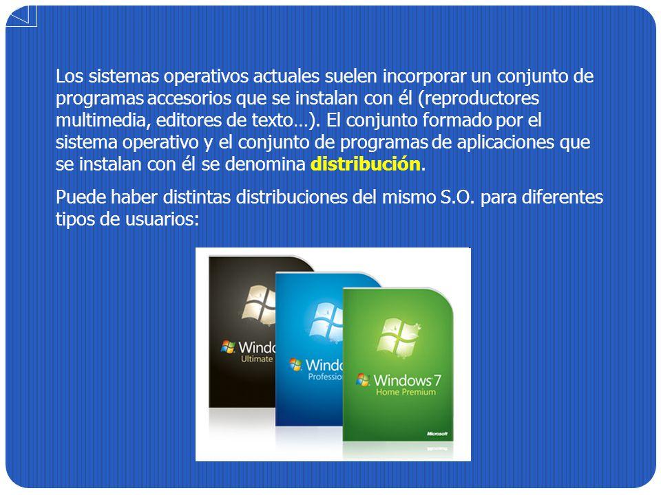 Los sistemas operativos actuales suelen incorporar un conjunto de programas accesorios que se instalan con él (reproductores multimedia, editores de texto…). El conjunto formado por el sistema operativo y el conjunto de programas de aplicaciones que se instalan con él se denomina distribución.