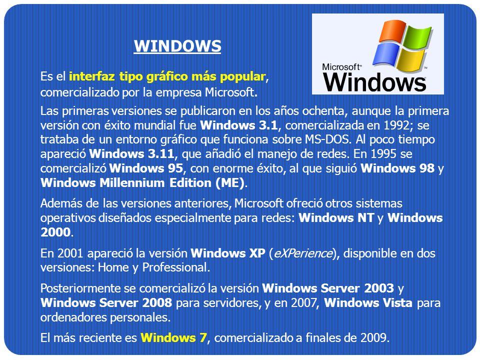 WINDOWS Es el interfaz tipo gráfico más popular, comercializado por la empresa Microsoft.