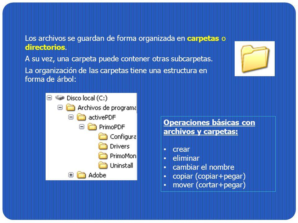 Los archivos se guardan de forma organizada en carpetas o directorios.