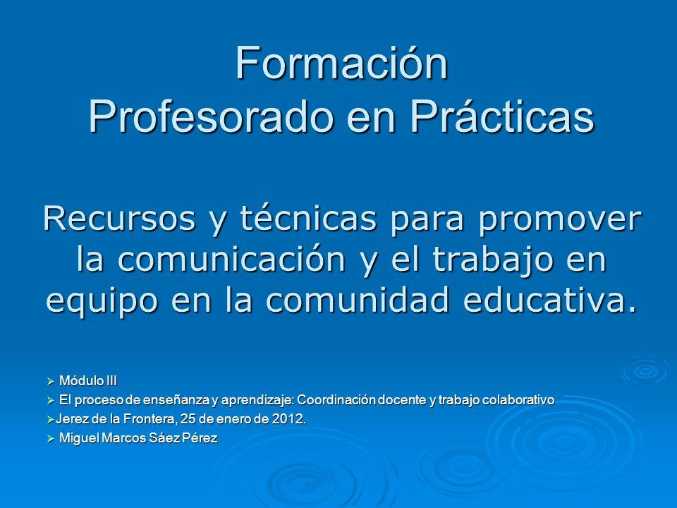 Formación Profesorado en Prácticas Recursos y técnicas para promover la comunicación y el trabajo en equipo en la comunidad educativa.