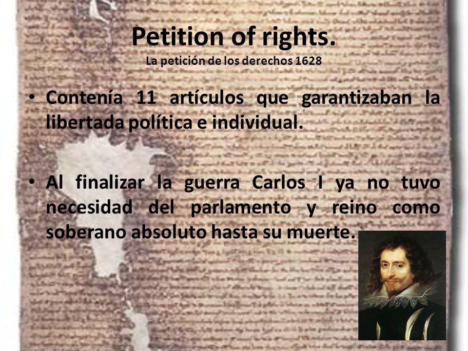Petition of rights. La petición de los derechos 1628