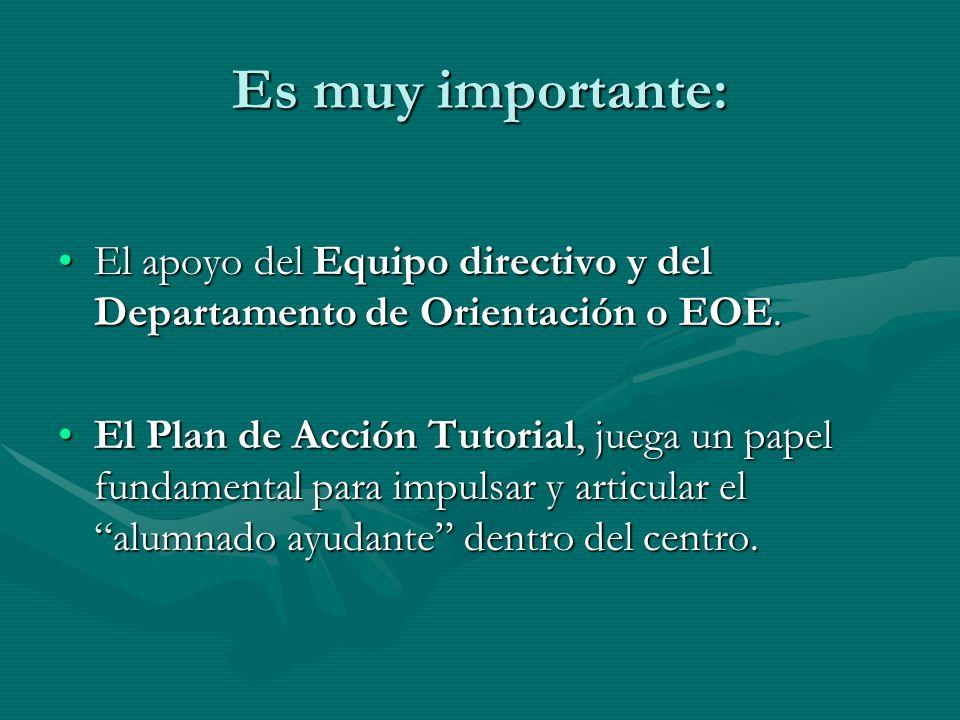 Es muy importante:El apoyo del Equipo directivo y del Departamento de Orientación o EOE.