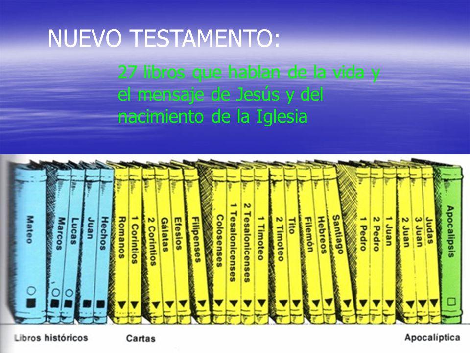 NUEVO TESTAMENTO: 27 libros que hablan de la vida y el mensaje de Jesús y del nacimiento de la Iglesia.