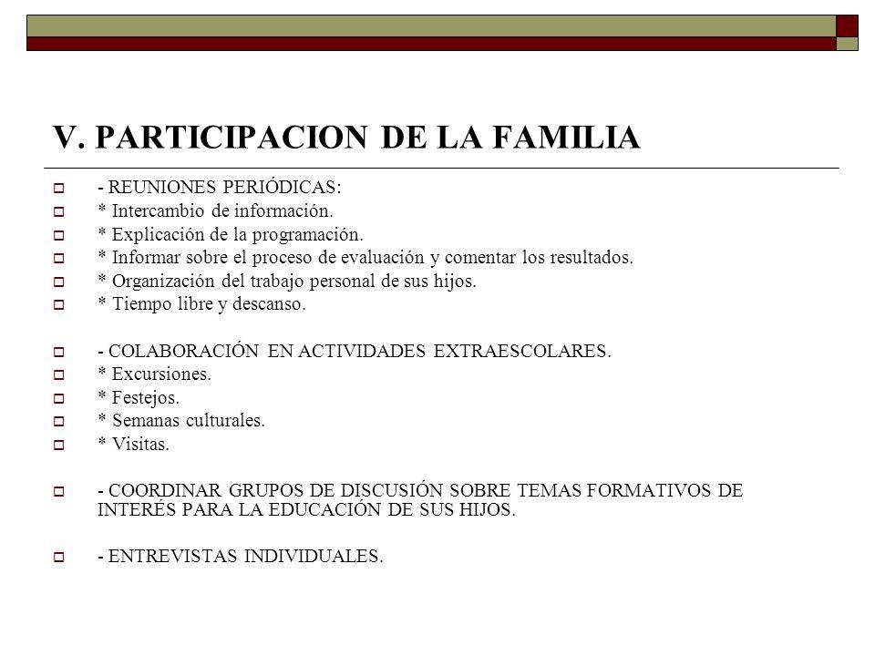 V. PARTICIPACION DE LA FAMILIA