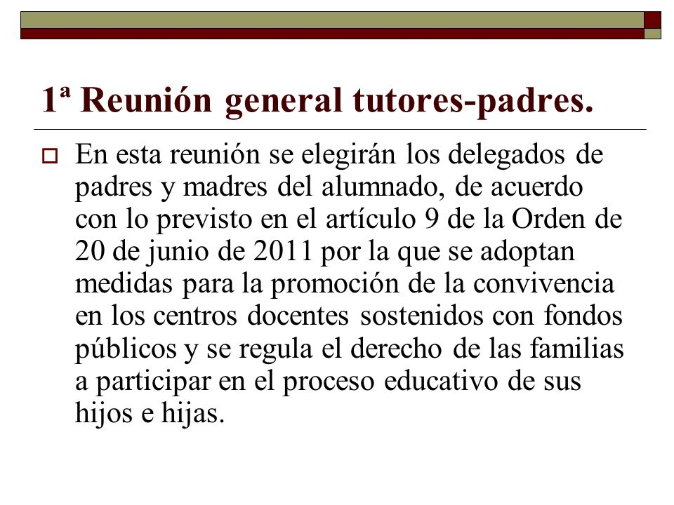 1ª Reunión general tutores-padres.