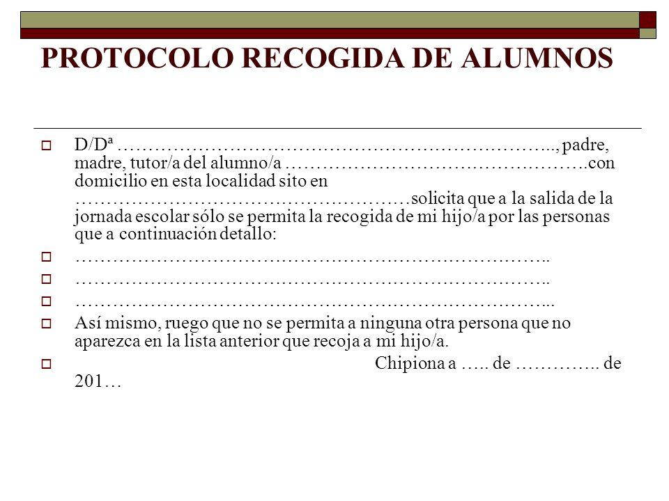 PROTOCOLO RECOGIDA DE ALUMNOS
