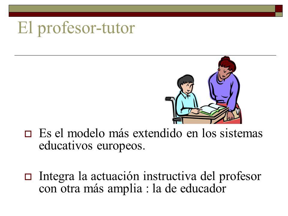 El profesor-tutorEs el modelo más extendido en los sistemas educativos europeos.