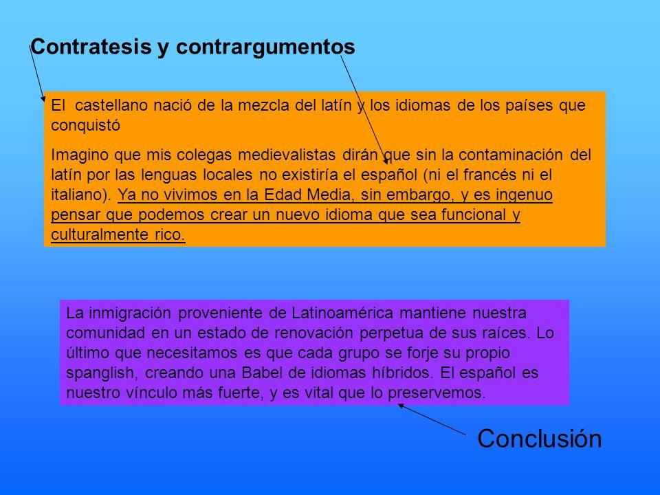 Conclusión Contratesis y contrargumentos