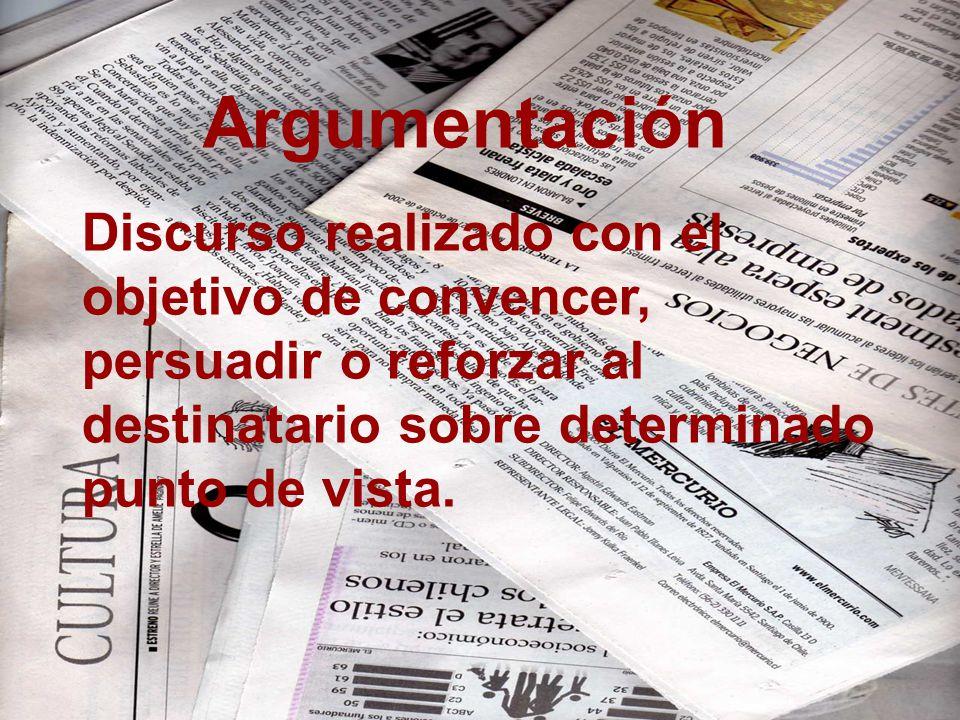 Argumentación Discurso realizado con el objetivo de convencer, persuadir o reforzar al destinatario sobre determinado punto de vista.