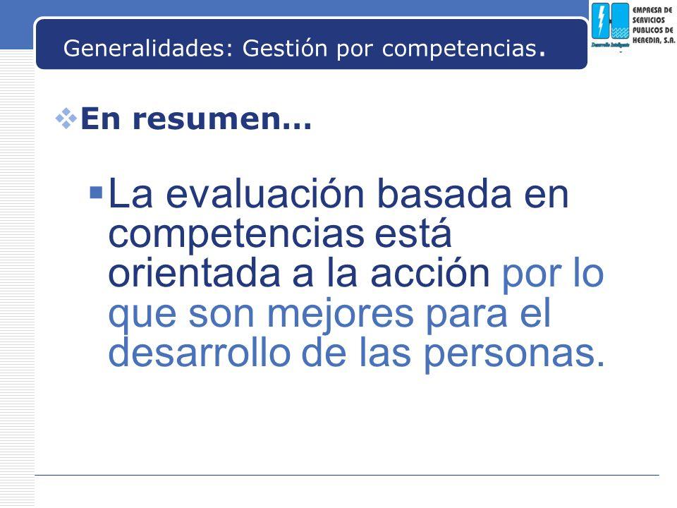 Generalidades: Gestión por competencias.