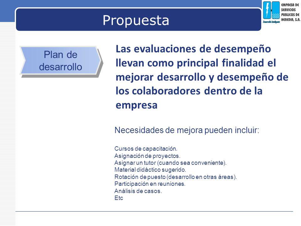 Propuesta Las evaluaciones de desempeño llevan como principal finalidad el mejorar desarrollo y desempeño de los colaboradores dentro de la empresa.