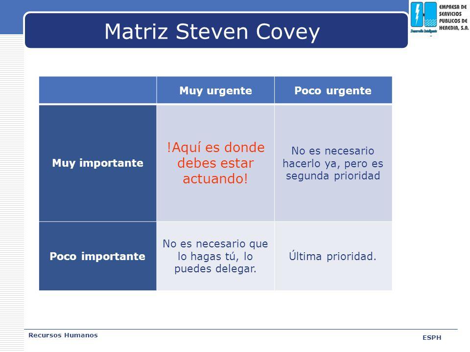 Matriz Steven Covey !Aquí es donde debes estar actuando! Muy urgente