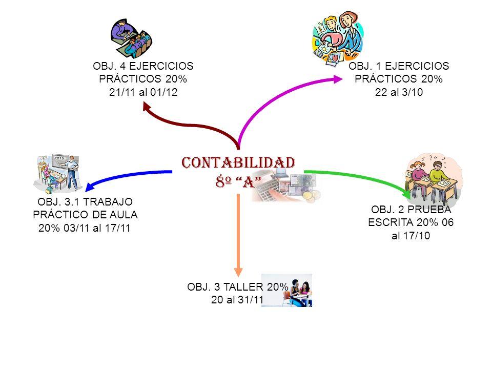 CONTABILIDAD 8º A OBJ. 4 EJERCICIOS PRÁCTICOS 20% 21/11 al 01/12