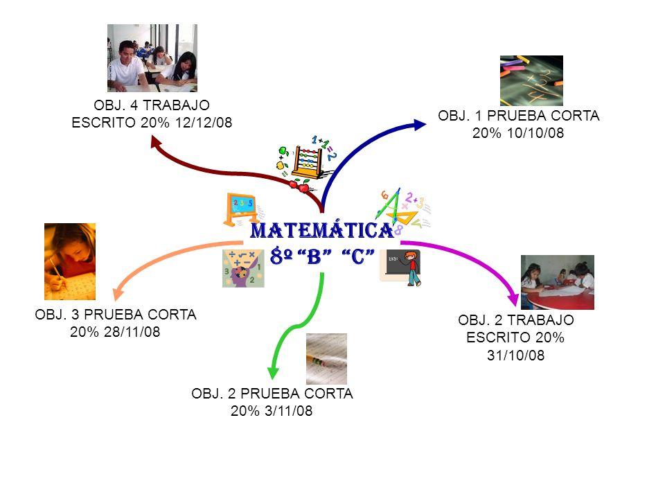 MATEMÁTICA 8º B C OBJ. 4 TRABAJO ESCRITO 20% 12/12/08