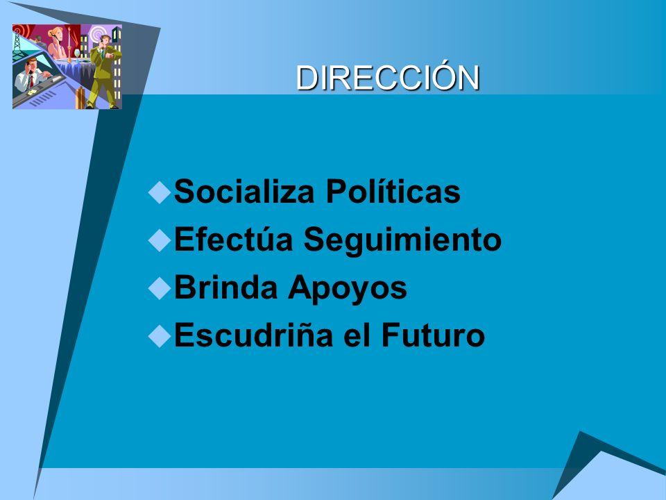 DIRECCIÓN Socializa Políticas Efectúa Seguimiento Brinda Apoyos Escudriña el Futuro
