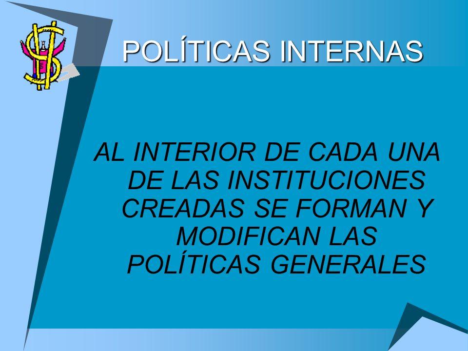 POLÍTICAS INTERNAS AL INTERIOR DE CADA UNA DE LAS INSTITUCIONES CREADAS SE FORMAN Y MODIFICAN LAS POLÍTICAS GENERALES.