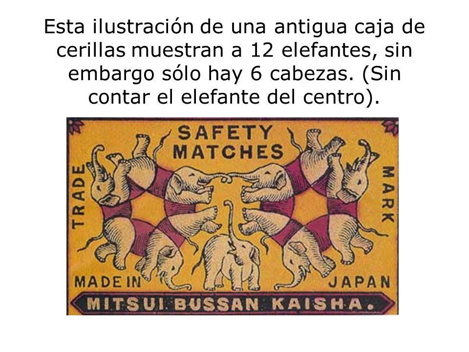 Esta ilustración de una antigua caja de cerillas muestran a 12 elefantes, sin embargo sólo hay 6 cabezas.