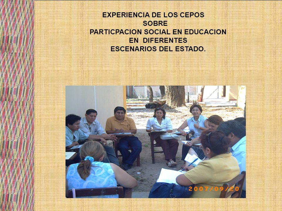 EXPERIENCIA DE LOS CEPOS PARTICPACION SOCIAL EN EDUCACION