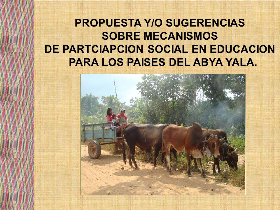 PROPUESTA Y/O SUGERENCIAS SOBRE MECANISMOS