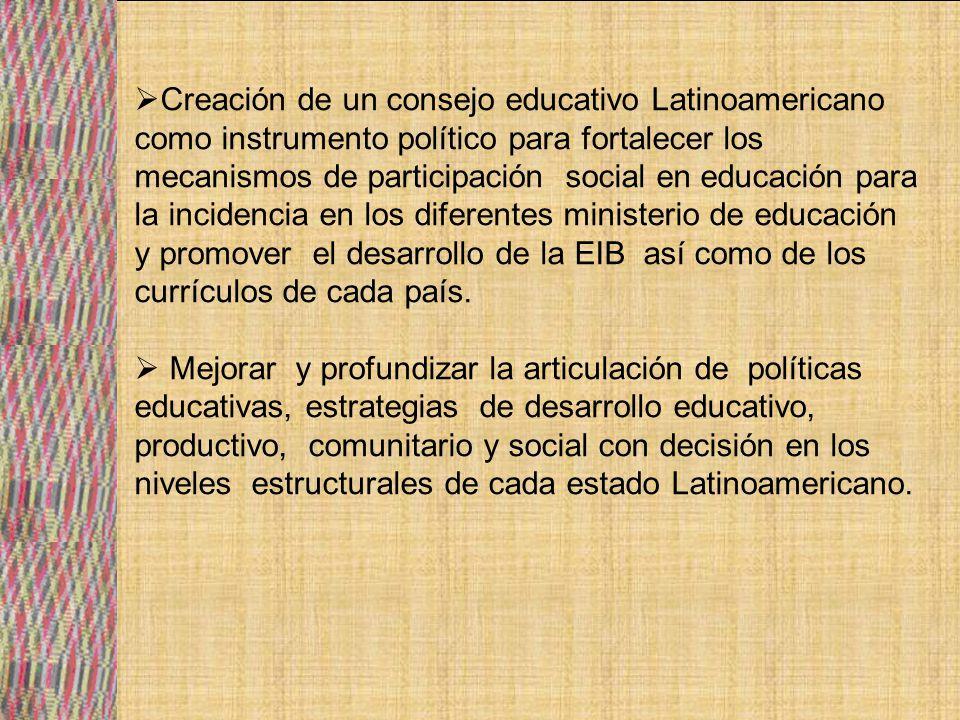 Creación de un consejo educativo Latinoamericano como instrumento político para fortalecer los mecanismos de participación social en educación para la incidencia en los diferentes ministerio de educación y promover el desarrollo de la EIB así como de los currículos de cada país.
