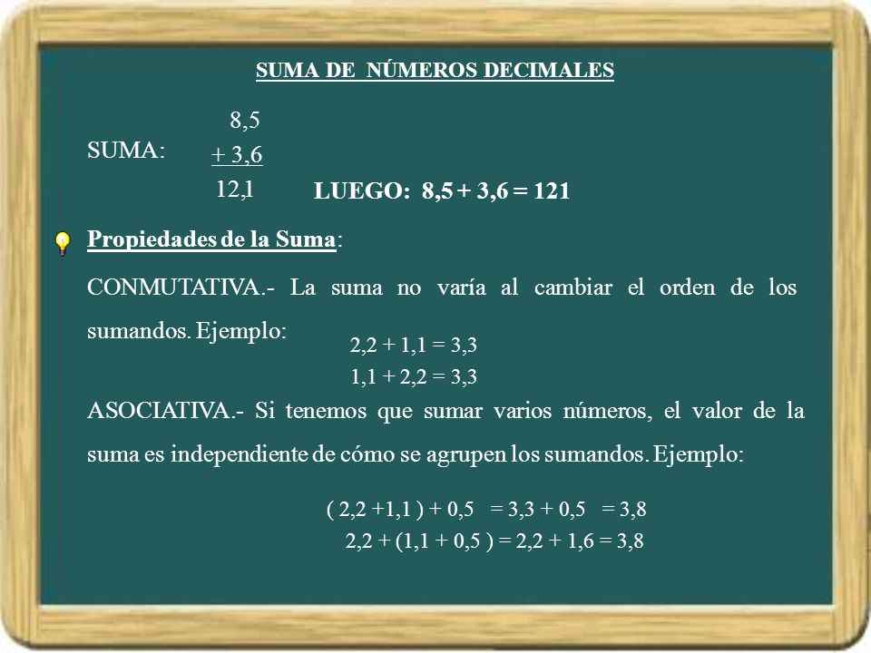 SUMA DE NÚMEROS DECIMALES