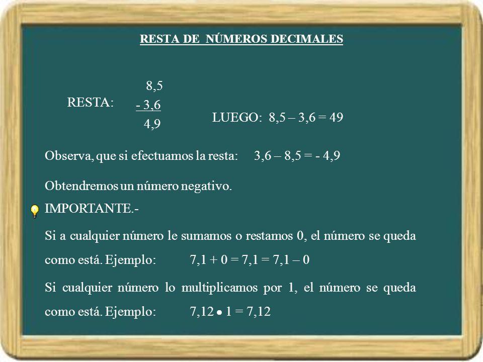 RESTA DE NÚMEROS DECIMALES